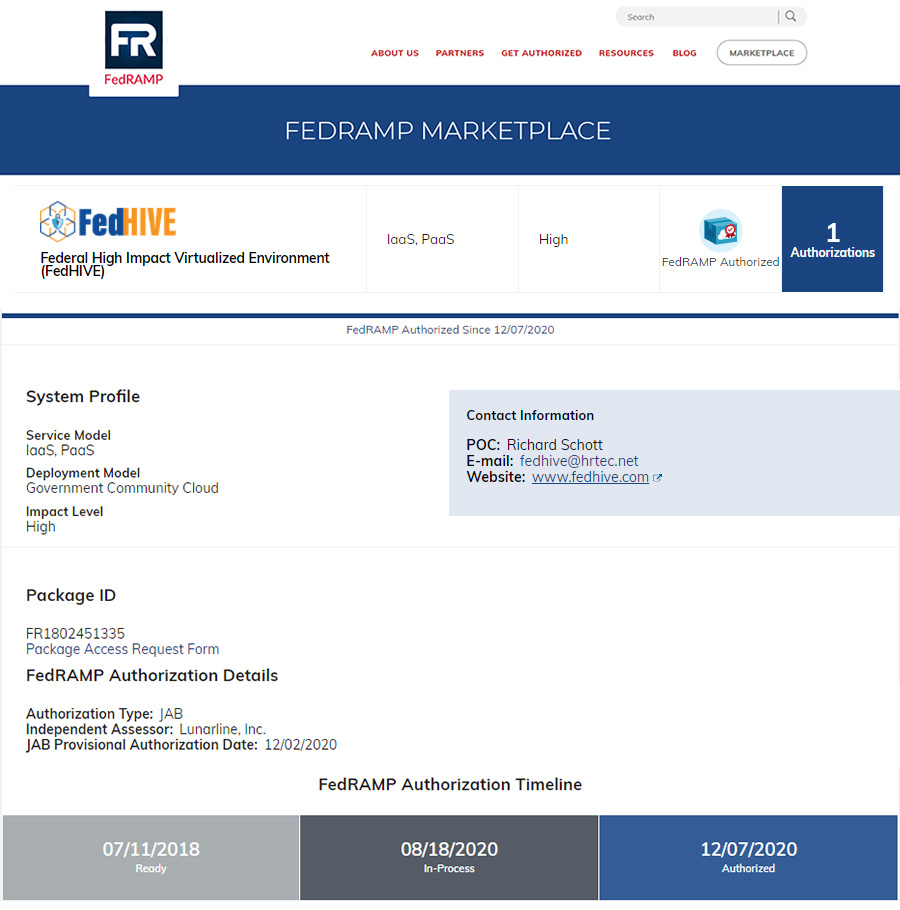 FedHIVE On FedRAMP Website